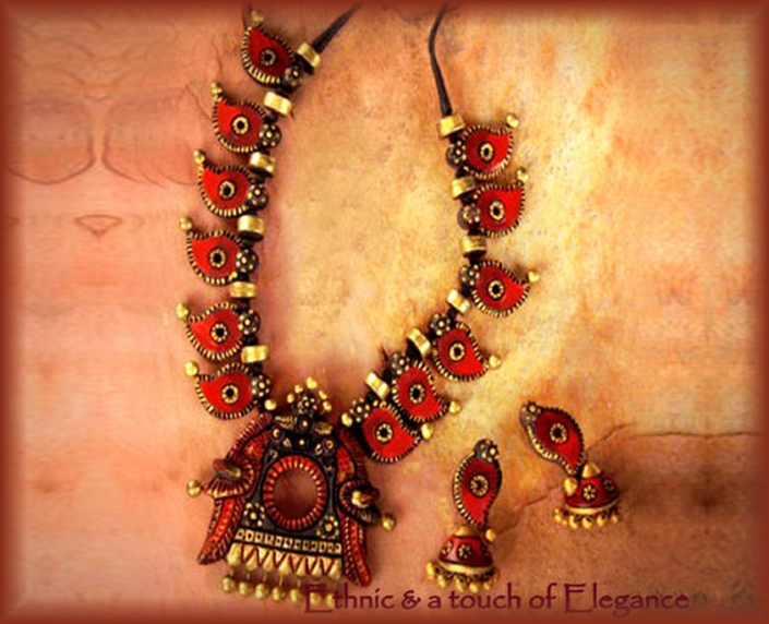 HandMade Terracotta Necklace and Earrings Jewelry